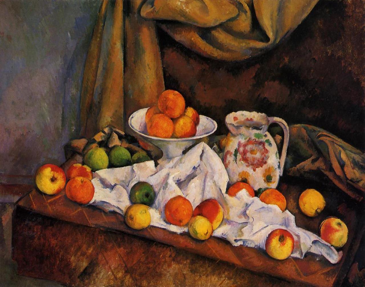 Поль Сезанн Ваза с фруктами, кувшин и фрукты. 1894г