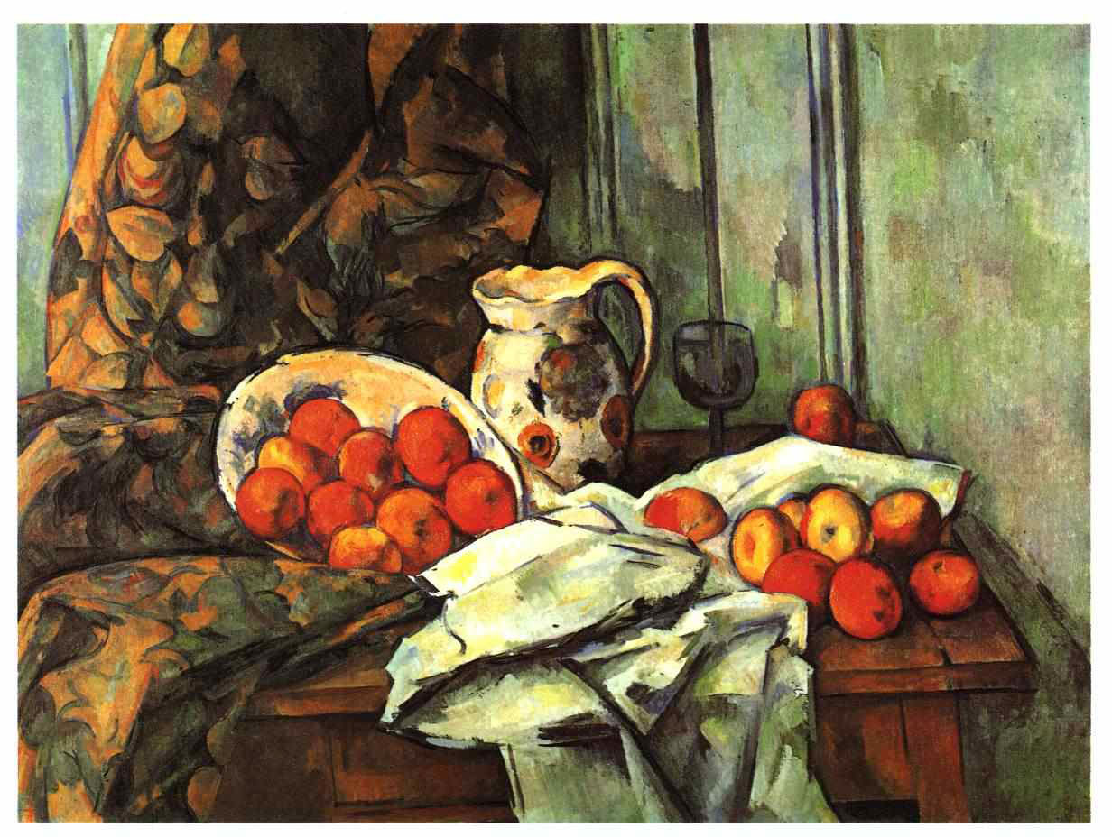 an analysis of still life with a curtain a post impressionistic painting by paul cezanne